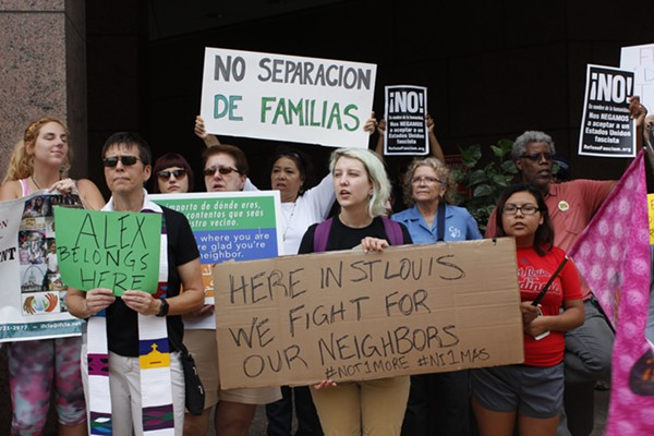 "Supporters chant ""No deportation, no border walls, no fascist USA"" while Garcia's family and attorney, Nicole Cortés, attempt to file an additional request for stay of removal inside the Robert A. Young Federal Building. - KATIE HAYES"