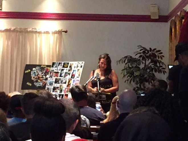 Gina Torres speaks at the funeral of her son, Isaiah Hammett. - PHOTO BY SARAH FENSKE