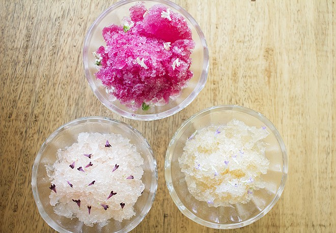 Shaved ice options include citra hips with sake and blue licorice flowers; clary sage with pinot grigio and pincushion flowers; and blackberry, huckleberry and sage with cream sherry and basil flowers. - MABEL SUEN
