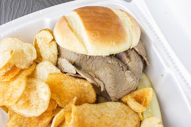 3 Bay's brisket sandwich, shown with spicy chips. - MABEL SUEN