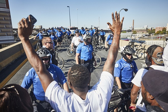 Protesters demonstrate after the acquittal of former St. Louis officer Jason Stockley on September 15, 2017. Another family has sued the department, claiming its officer is responsible for their son's wrongful death. - PHOTO BY THEO WELLING