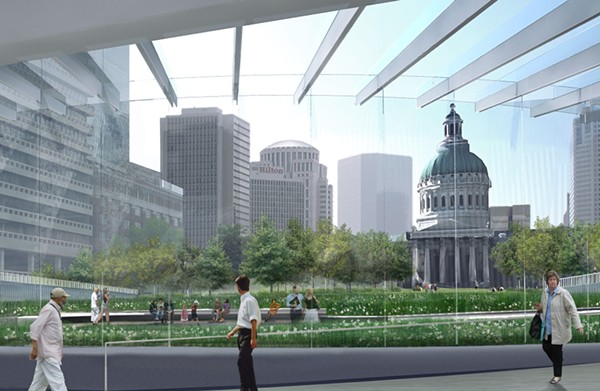 Visitors won't need to pass through security before entering this walkway. - GATEWAY ARCH PARK FOUNDATION