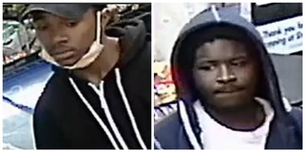 "These two men have been identified as ""persons of the interest"" by St. Louis police. - IMAGES COURTESY OF SLMPD"