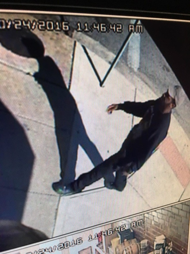 A surveillance image of a suspect that the St. Louis police released after Huan Le's beating. - VIA SLMPD