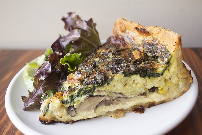 The cafe's terrific quiche comes with spinach, mushroom and leeks. - MABEL SUEN