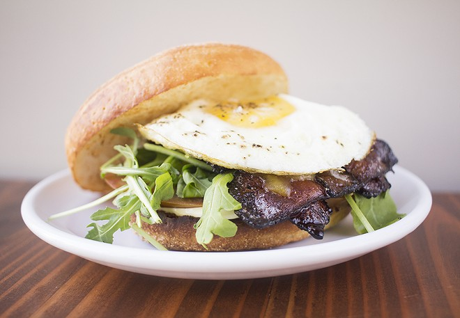 "The ""BELT"" breakfast sandwich comes complete with an ingenious bacon lattice. - MABEL SUEN"
