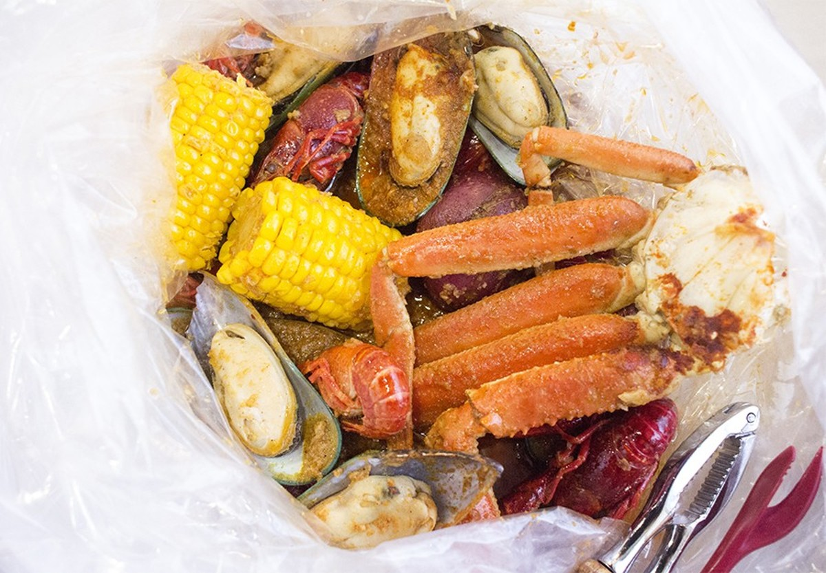 "Combos come with corn, potatoes and sausage. Here, the ""Angry Combo"" also includes snow crab legs, mussels and crawfish."