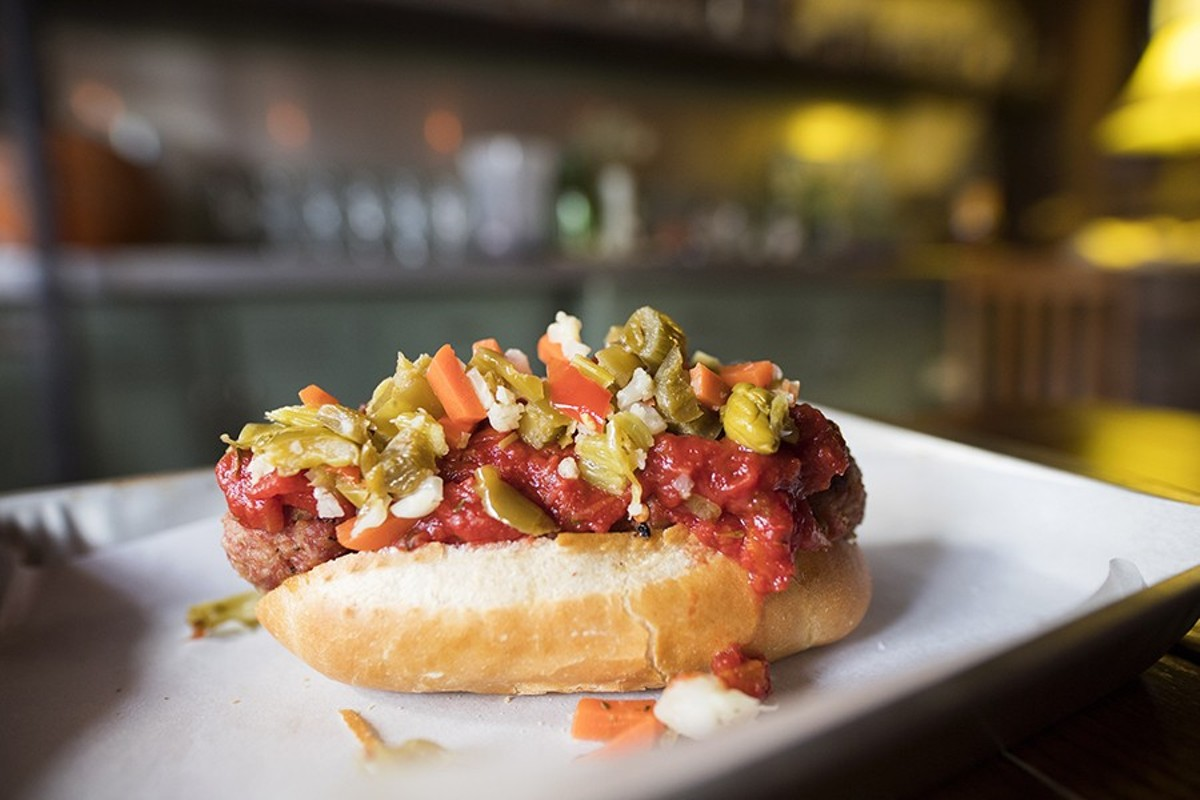 "The ""Meat Baller""  comes topped with marinara and giardiniera."
