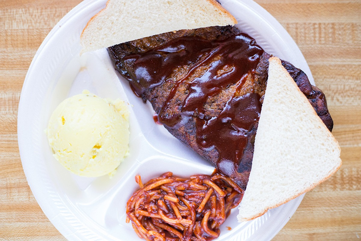 "You can get your pork steak at Smoki O's with ""Minnie's Potato Salad"" and barbecue spaghetti, just like Minnie Muriel Hall Walker used to make it."