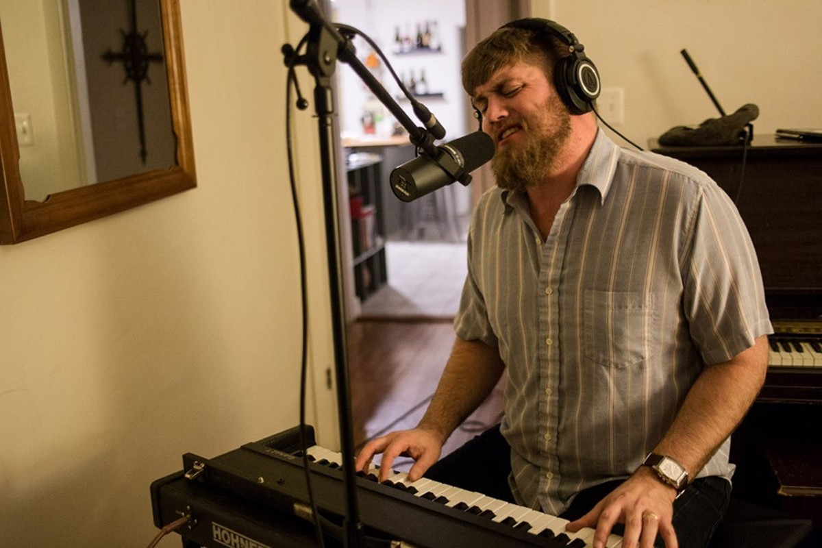 Al Holliday lays down tracks for his new record with the East Side Rhythm Band.