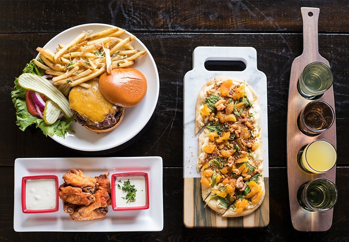 "You can pair your flight of cider with the house burger, cider-brined wings or the ""Damascus Flatbread."""