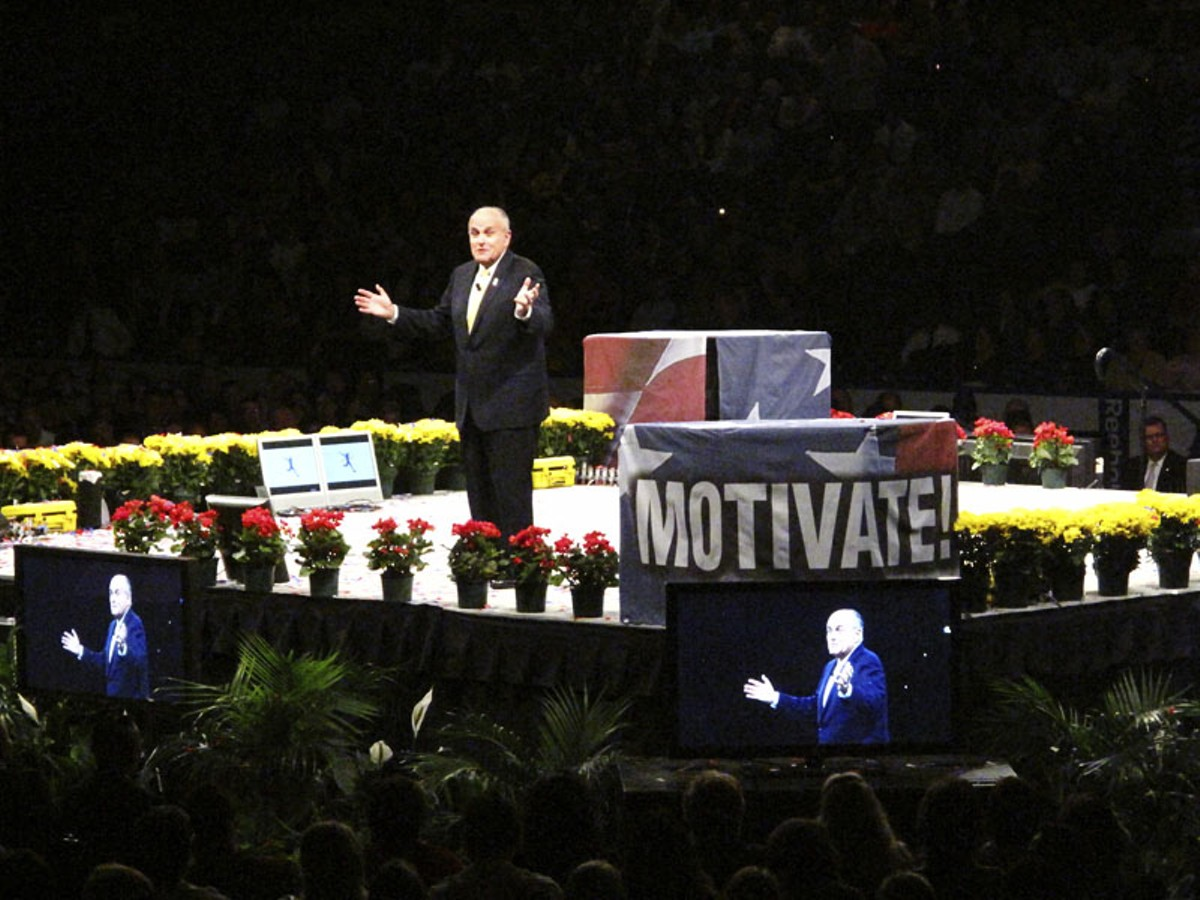 Scottrade Center is packed on April 27, with attendees lured by the promise of cheap tickets to see everyone from Rudy Giuliani to Lou Holtz. For more photos, check out our full slideshow Get Motivated…to Hand Over Your Wallet.