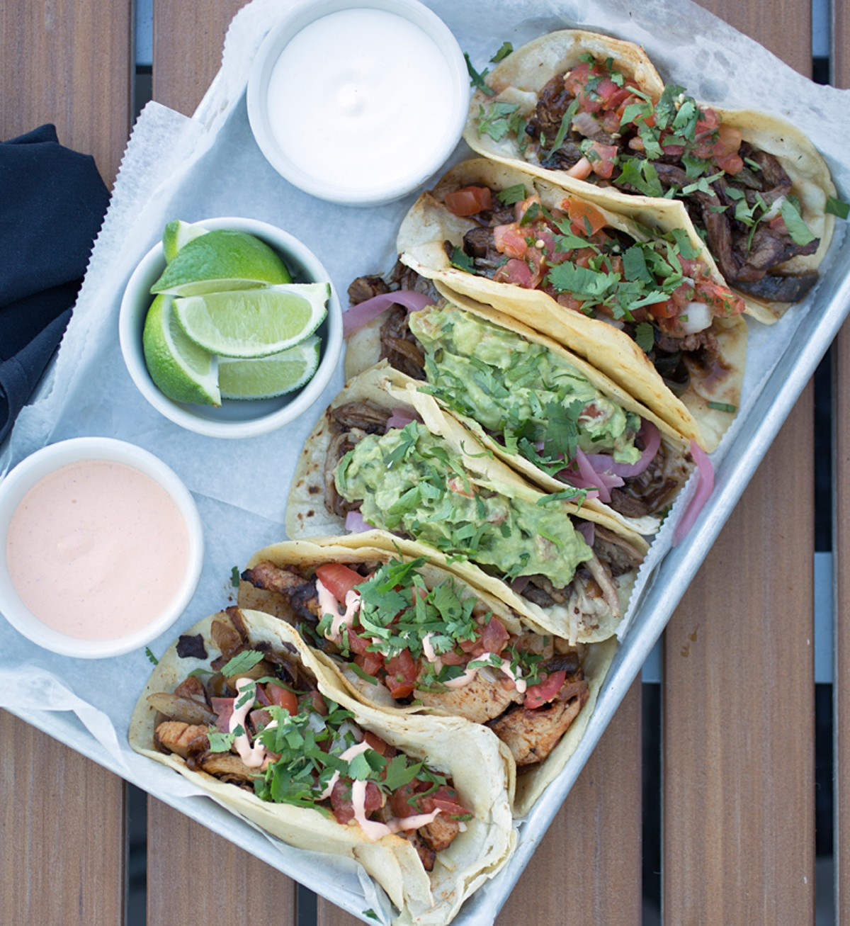 Vida's taco platter comes with six tacos. Here, it's chicken, carnitas and carne asada. Slideshow: Photos of Vida Mexican Kitchen y Cantina