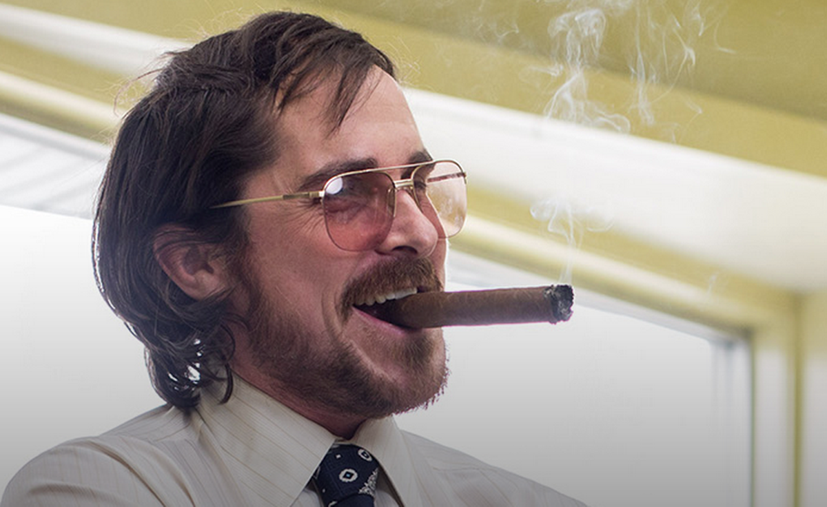 Christian Bale as Irving Rosenfeld in American Hustle.