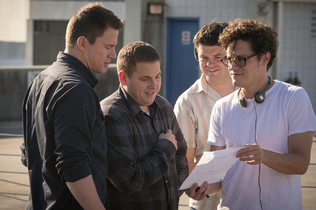 Left to right: Channing Tatum, Jonah Hill, Chris Miller and Phil Lord on the set of 22 Jump Street.