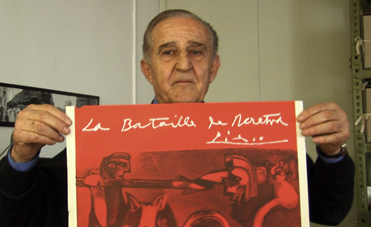 Yugoslav film director Veljko Bulajic shows off the poster for his Academy-Award nominated WWII epic Battle of Neretva, one of only two film posters Pablo Picasso ever designed.