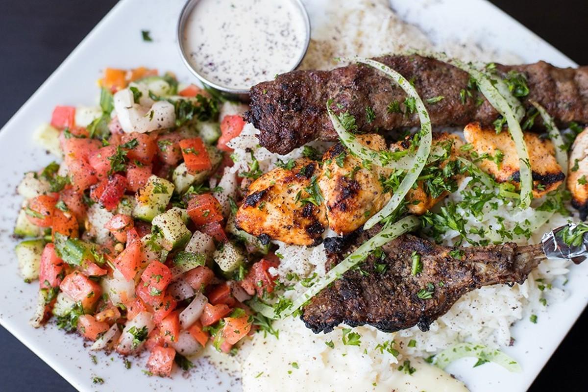 Levant mixed grill features shish tawuk, beef kebab and lamb chop.
