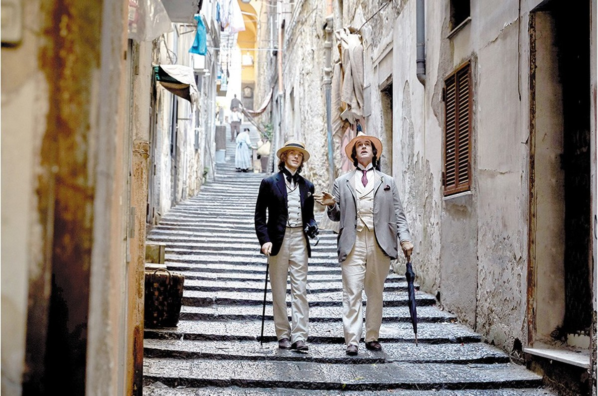 Alfred Douglas and Oscar Wilde (Colin Morgan and Rupert Everett) enjoy a stroll in better times.