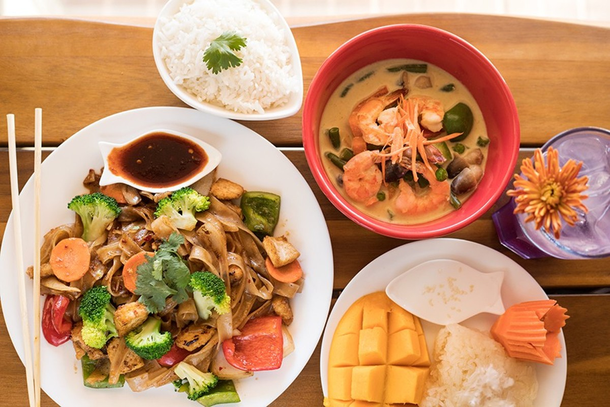 """My Thai's highlights include """"Drunken Noodles,"""" green curry with shrimp, sweet sticky rice and mango, and Thai blue lemonade."""