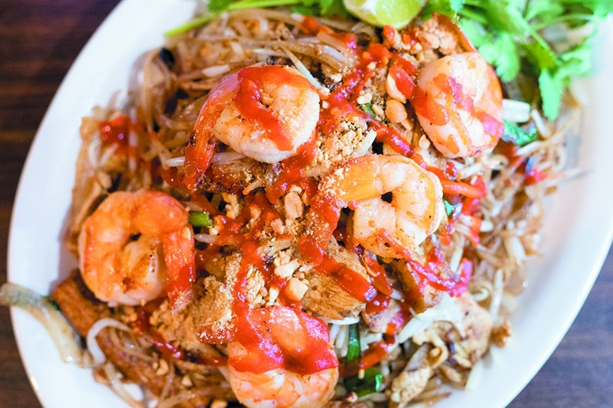The pad Thai stir fry special shows the kitchen's skill with pan-Asian fare.