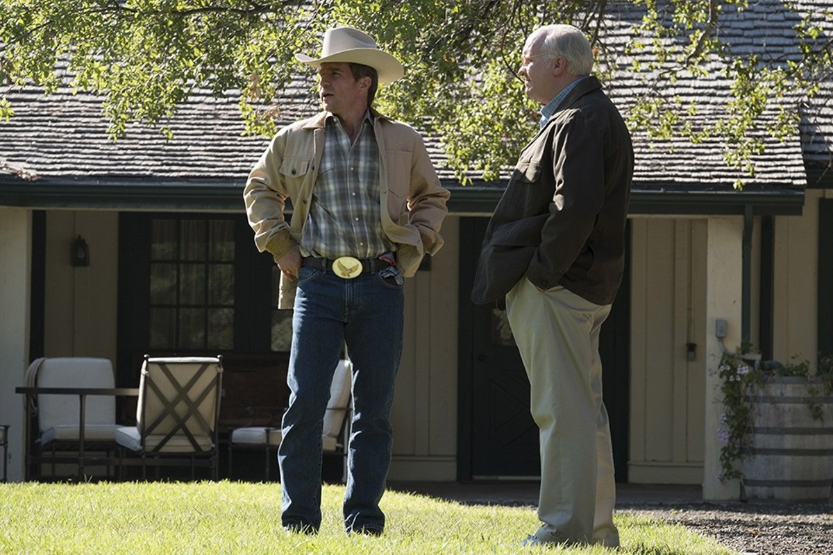 Dick Cheney and George Bush (Christian Bale and Sam Rockwell) back when Cheney ran the world.