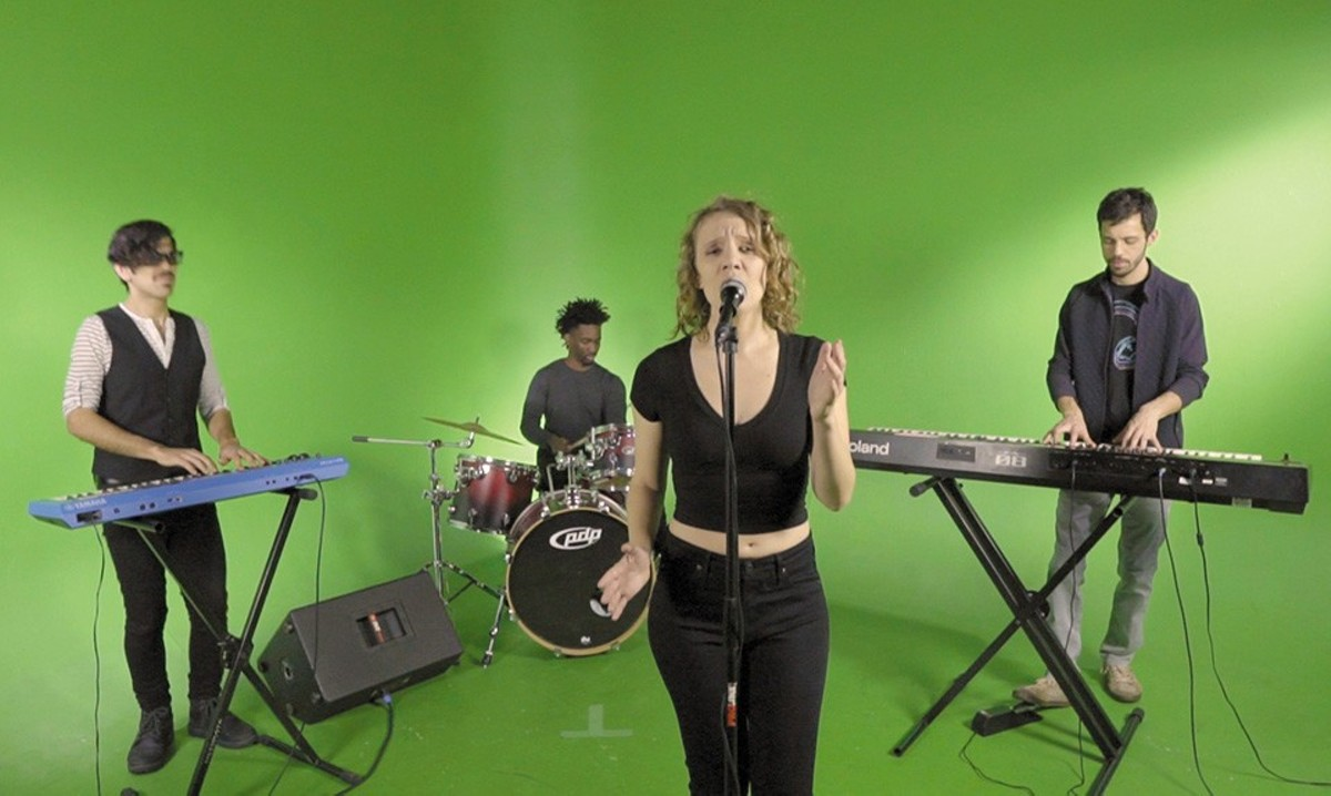 Ryan Marquez, Jharis Yokley, Chrissy Renick and Andrew Stephen at a video shoot for one of the act's new songs.