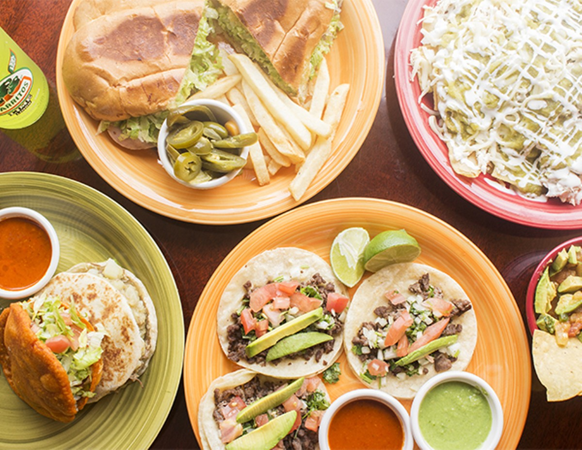 """Torta Special,"" chilaquiles, ""Gorditas Rojas"" with picadillo, ""Gorditas de Harina"" with cream and chicken, steak tacos and ""Salsa Tony."""