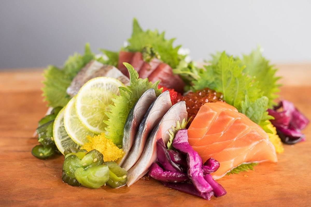 Sashimi moriawase comes with cuts such as salmon, yellowfin tuna and mackerel.