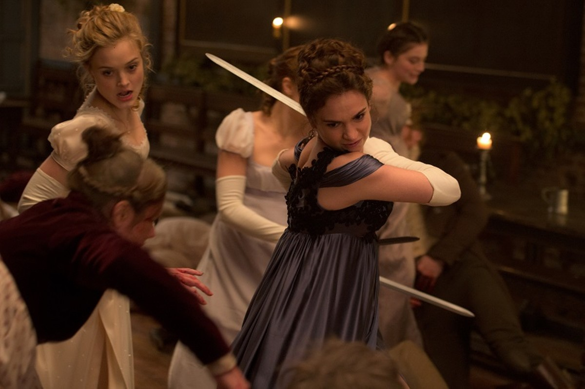 Bella Heathcote (left) and Lily James (right) fight their way out another dull party.