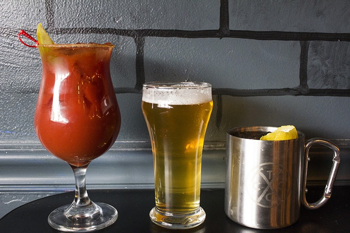 """Drinks at Brickyard Tavern include the """"STL-Style Mary,"""" a beer and the """"Tavern Tin Cup."""""""