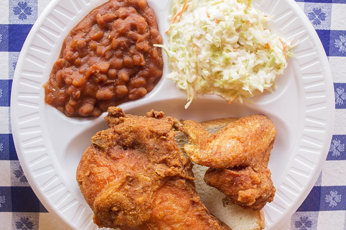 Gus's chicken with baked beans and slaw.