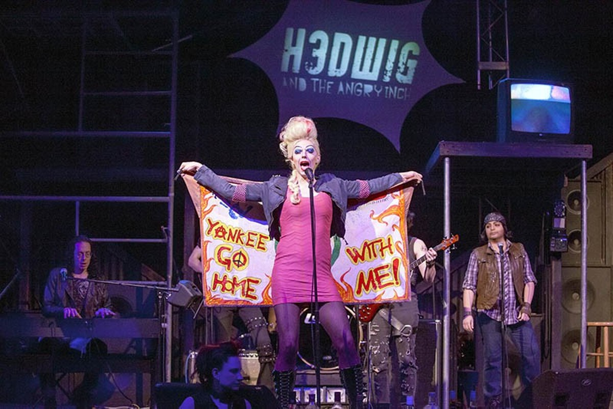 Hedwig (Michael Baird) spreads her wings and flies at Tower Grove Abbey.