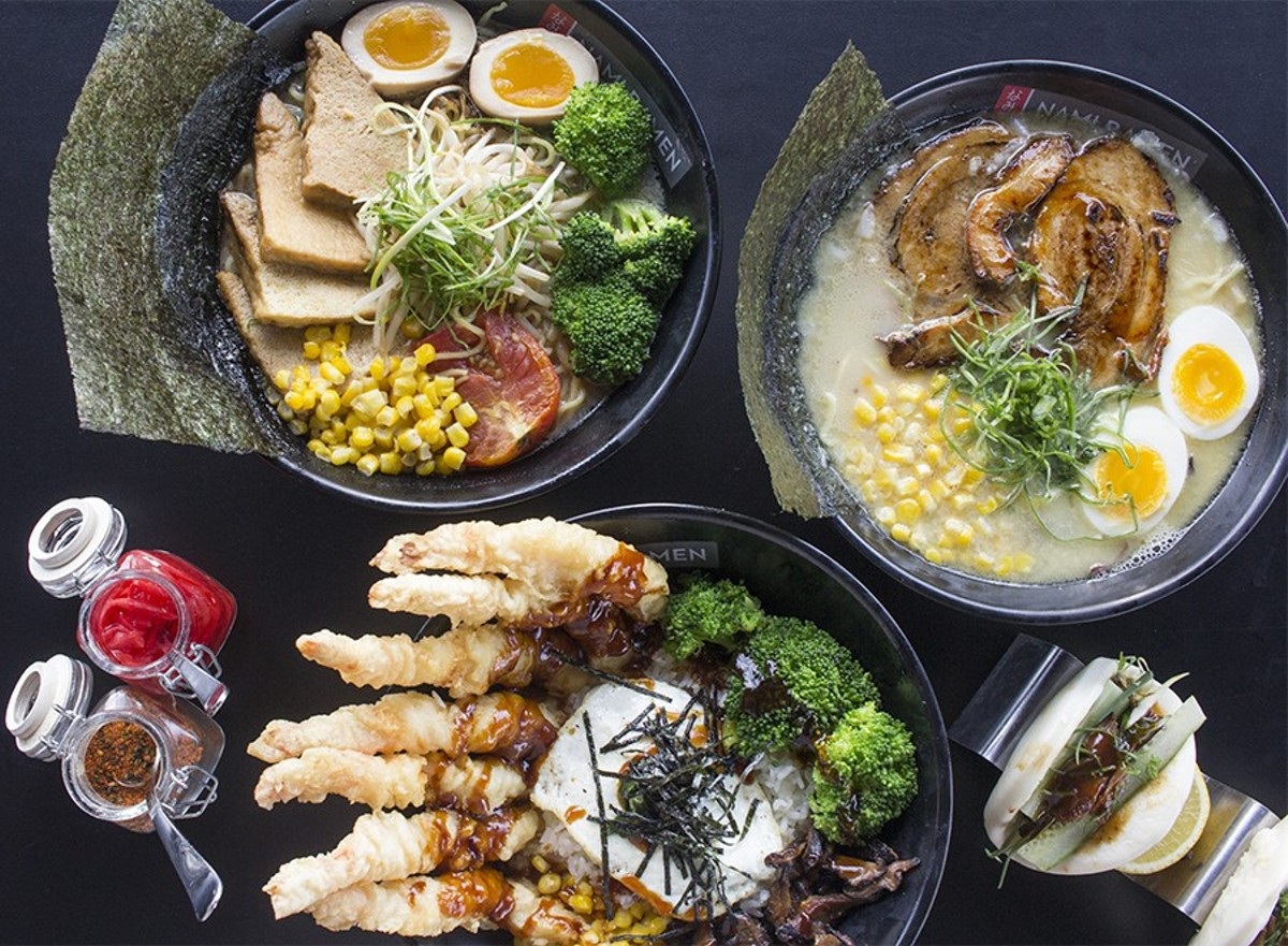 A selection of dishes from Nami Ramen.