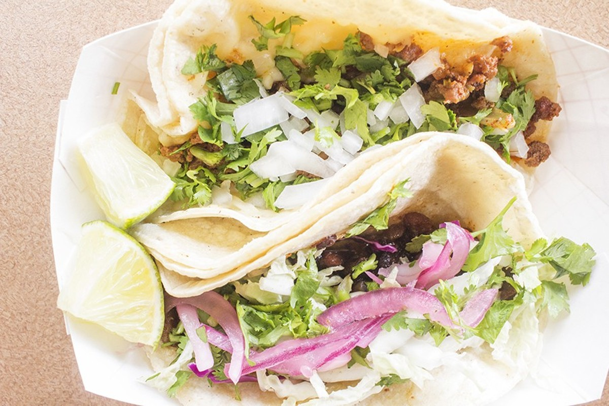 Chicken and beef street tacos — delicious, and filling.