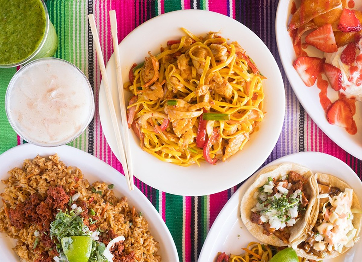 Wok O Taco offers Mexican/Chinese fusion including chipotle chicken noodles, wonton empanadas and chorizo-fried rice.