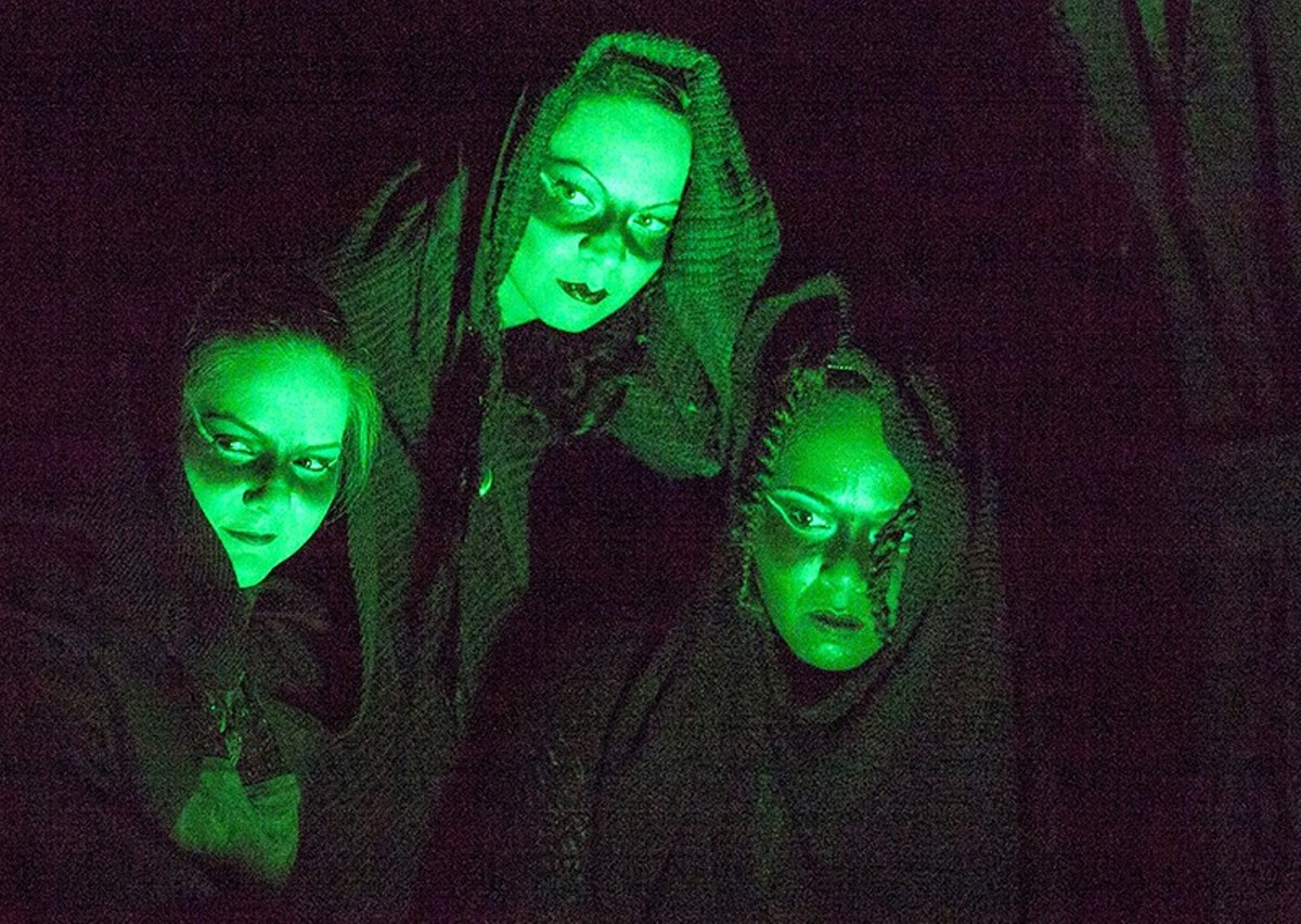 Katie Robinson, Elizabeth Knocke and Taleesha Caturah as the Three Witches.