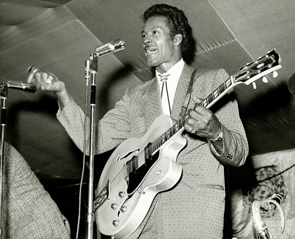 "Chuck Berry performing during ""Chuck Berry's Bandstand."" Photograph by Irving Williamson, 1965."