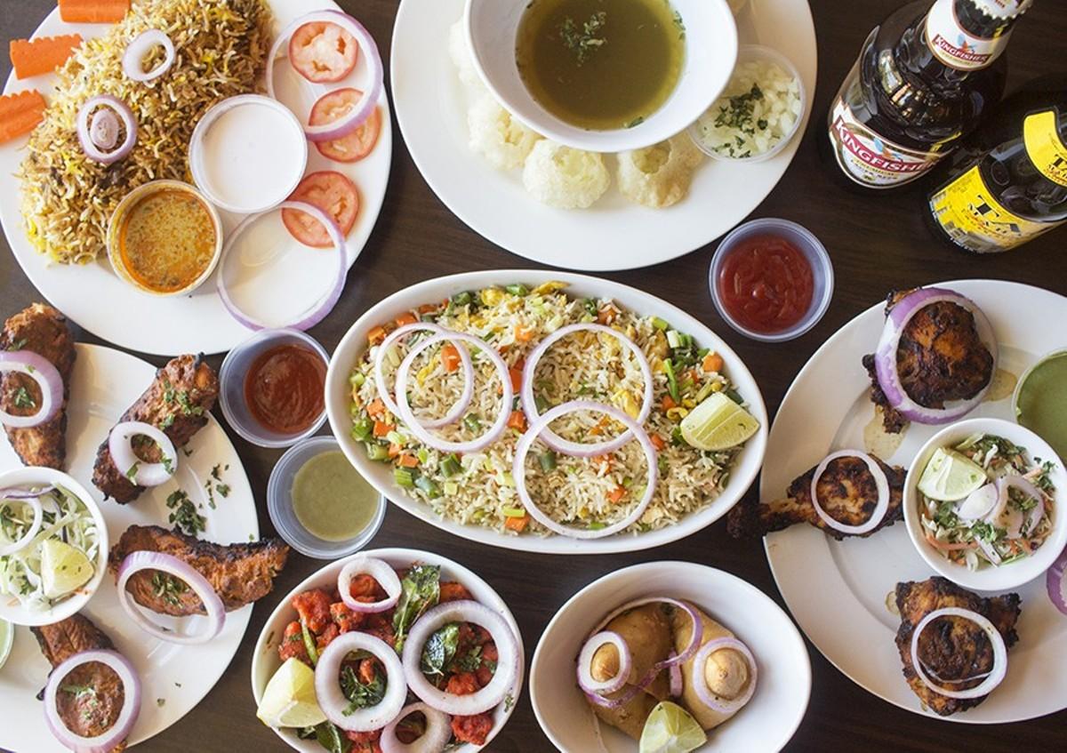 "Highlights include biryani, pani puri, Arabian kebobs, egg fried rice, ""Chicken 65,"" vegetable samosas and Tandoori kebabs."