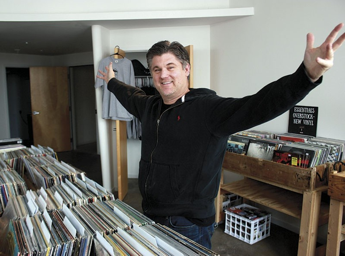 Music Record Shop owner Mark Carter, vinyl superfan, in the store's new Locust Street location.