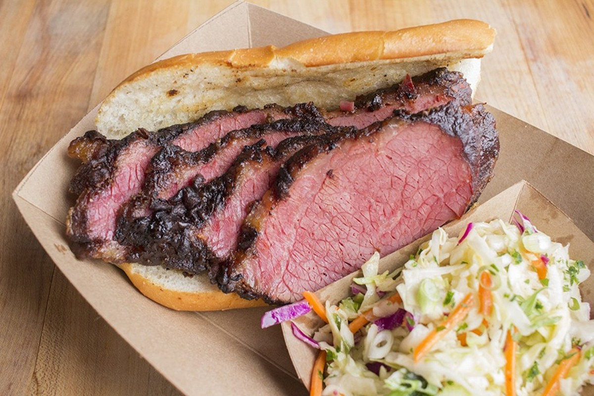 The Stellar Hog's smoked corned beef brisket with slaw.
