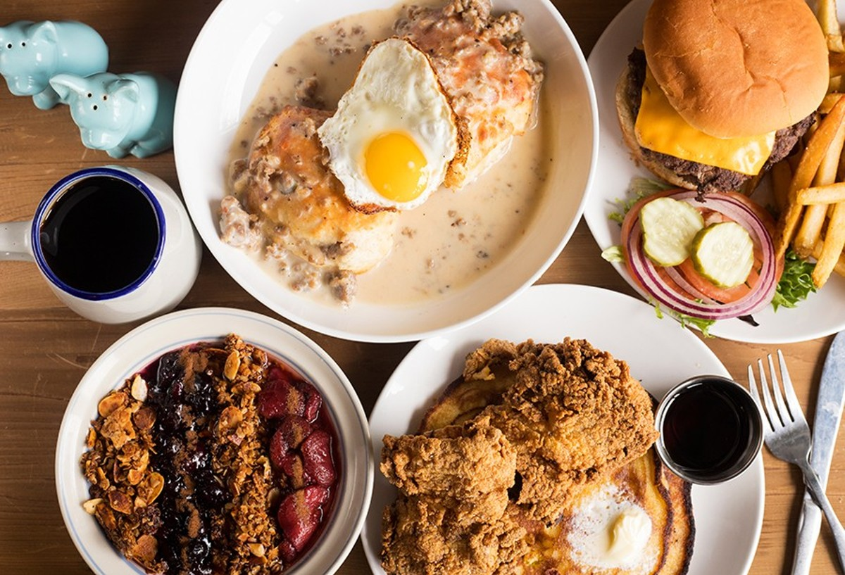 Morning Glory serves up classics including biscuits and gravy, a double cheeseburger, parfait, and fried chicken and johnny cakes.