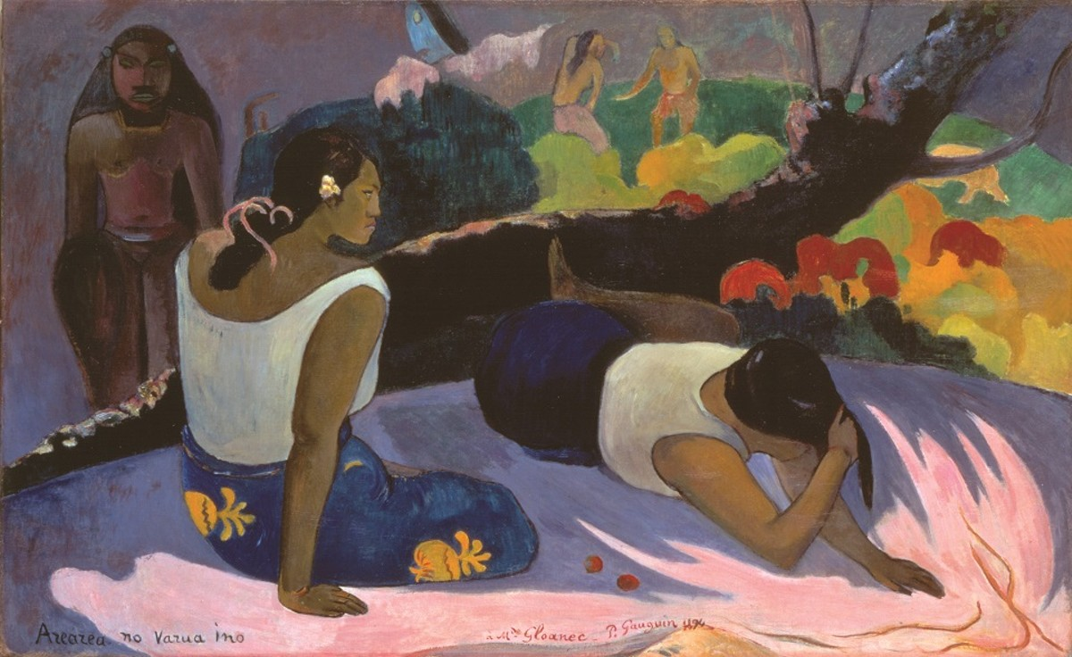 Paul Gauguin, French, 1848–1903; Reclining Tahitian Women, or The Amusement of the Evil Spirit (Arearea no varua ino), 1894; oil on canvas; 23 5/8 x 38 9/16 inches; Ny Carlsberg Glyptotek, Copenhagen MIN 1832
