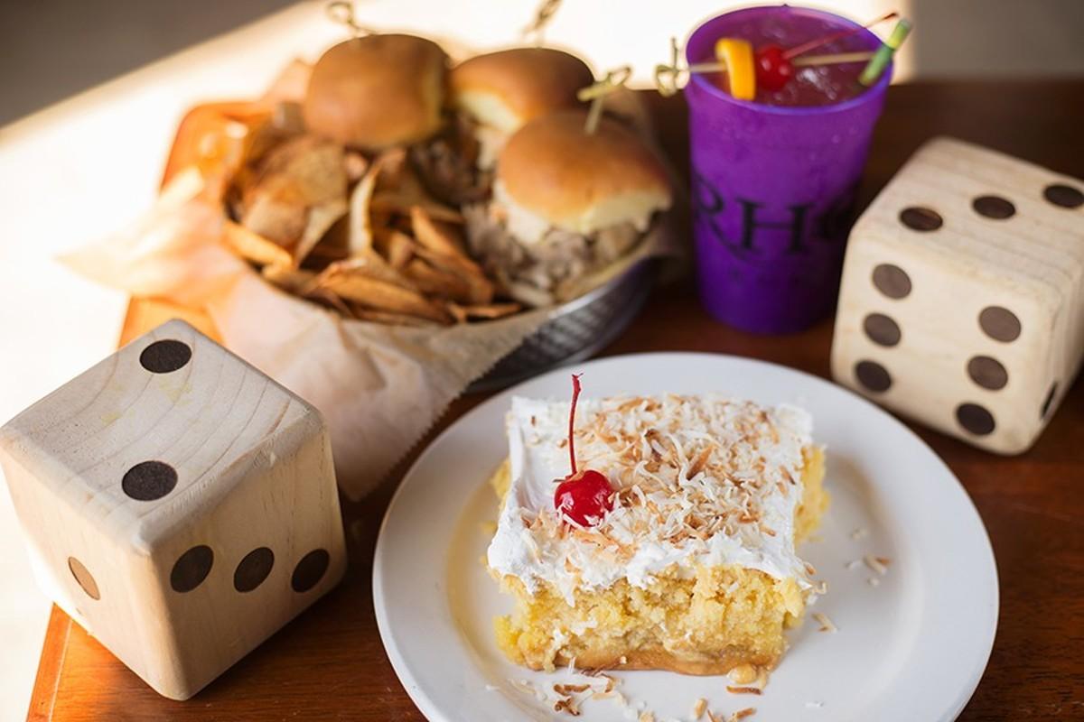 BBQ pork sliders, Pirate Punch and pina colada cake are three island highlights.
