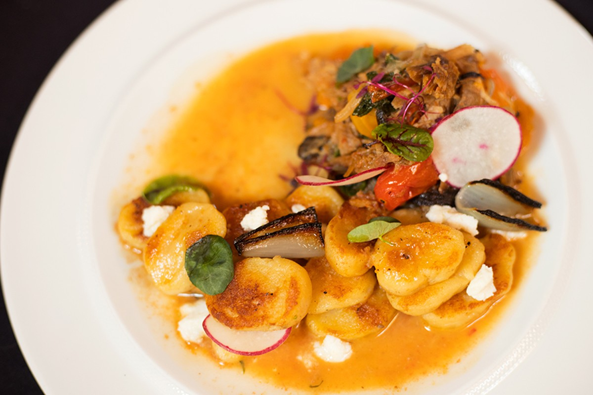 Gnudi, served with the restaurant's sensational pork shoulder, is a standout dish on a formidable menu.