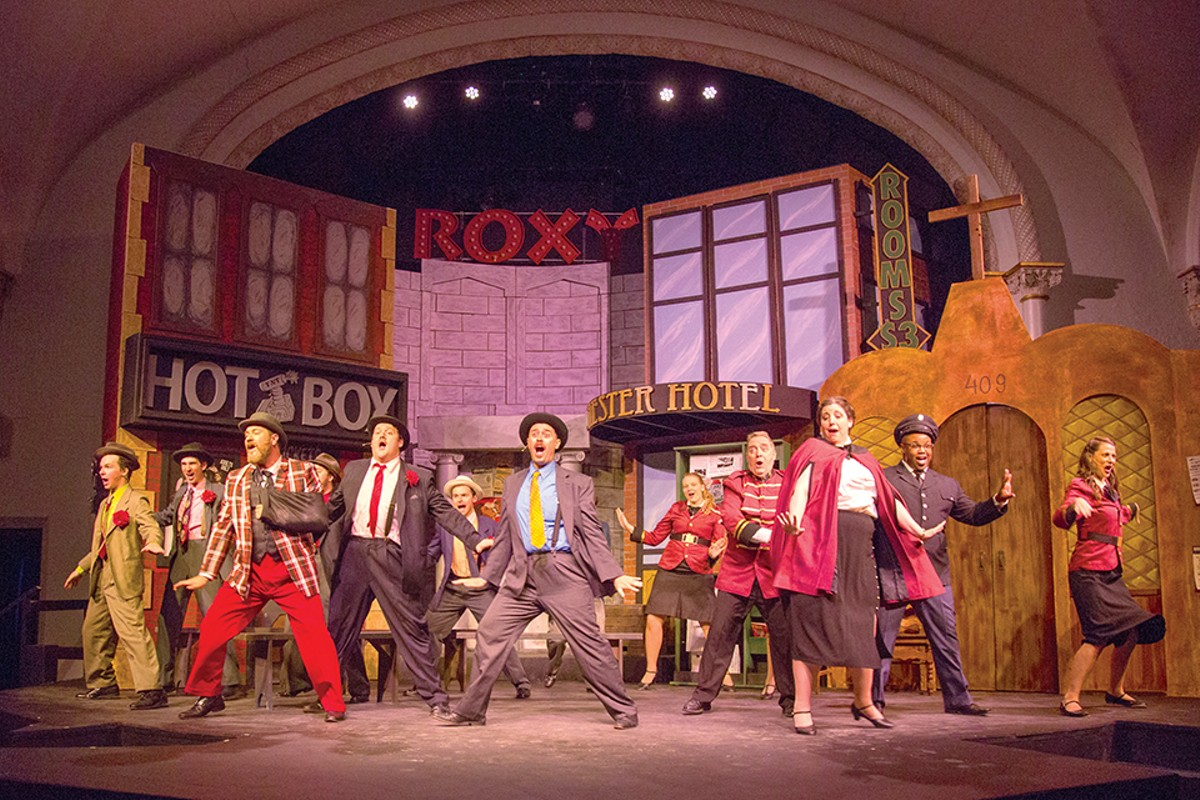 The cast of Guys and Dolls in action.