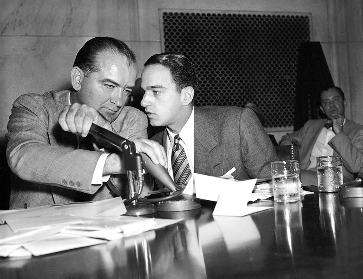 Good friends Sen. Joseph McCarthy and Roy Cohn during the '50s.