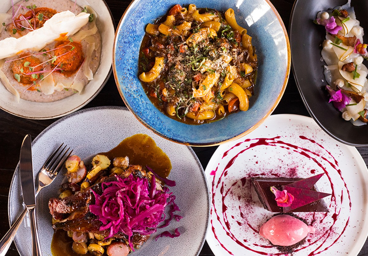 A collection of dishes from The Bellwether (from left to right and top to bottom): lamb meatballs, short rib ragout, scallop carpaccio, pork steak and chocolate-beet cake.
