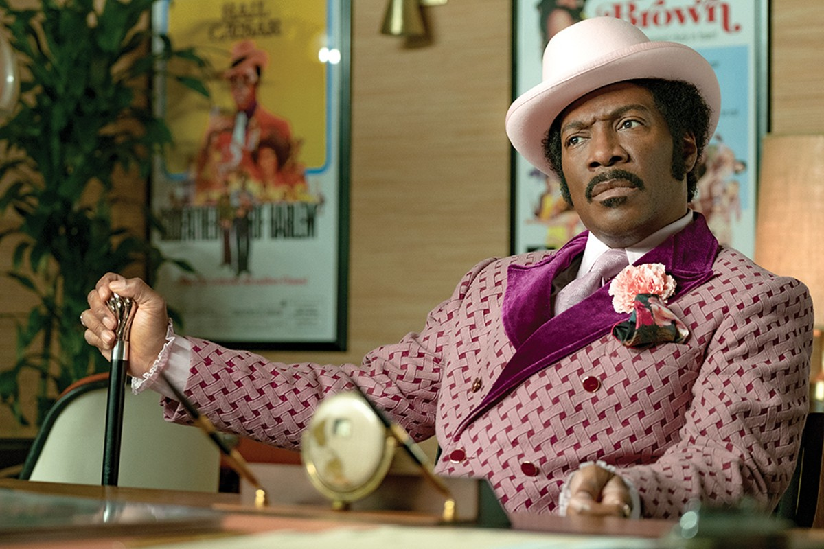 Eddie Murphy gives a passionate performance as Rudy Ray Moore.