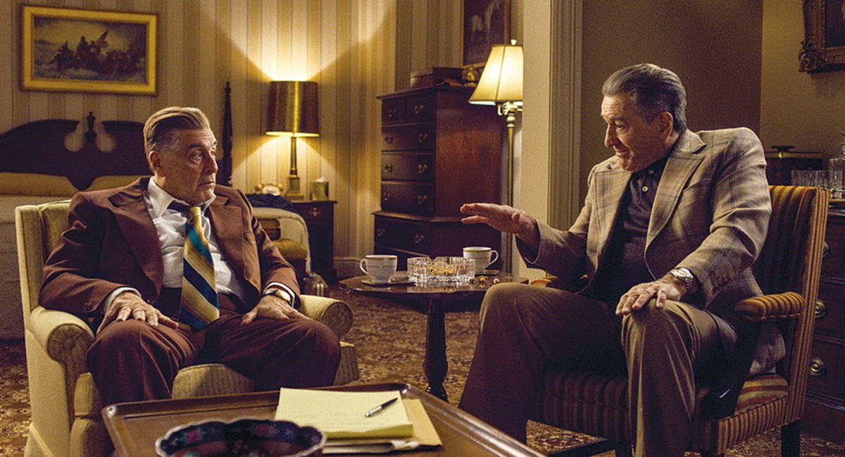 Jimmy Hoffa (Al Pacino) and Frank Sheeran (Robert De Niro) debate Hoffa's next move.