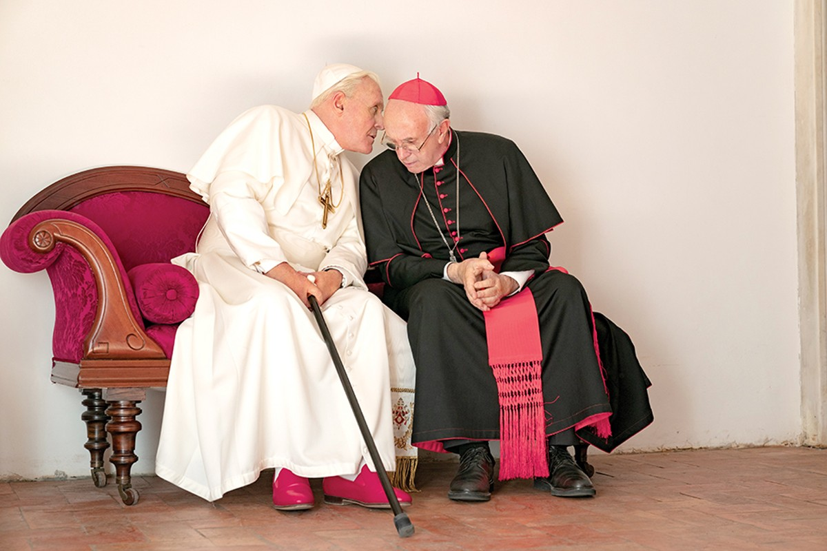 Pope Benedict and Pope Francis (Anthony Hopkins and Jonathan Pryce) are shown to very human men.